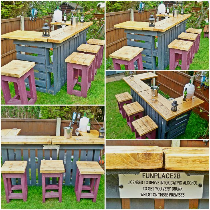 The Garden Bar made from Reclaimed Timber and Discarded Pallets. Always wanted your own bar? It's going to be a hot hot summer (I am optimistic) ....This outdoor bar and bar stools was created in two days. It is made from discarded pallets and scrap timber, the bar top is made from old roof joists, …
