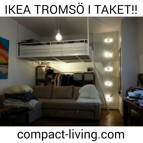 IKEA Tromsö loftsäng monterad i taket.