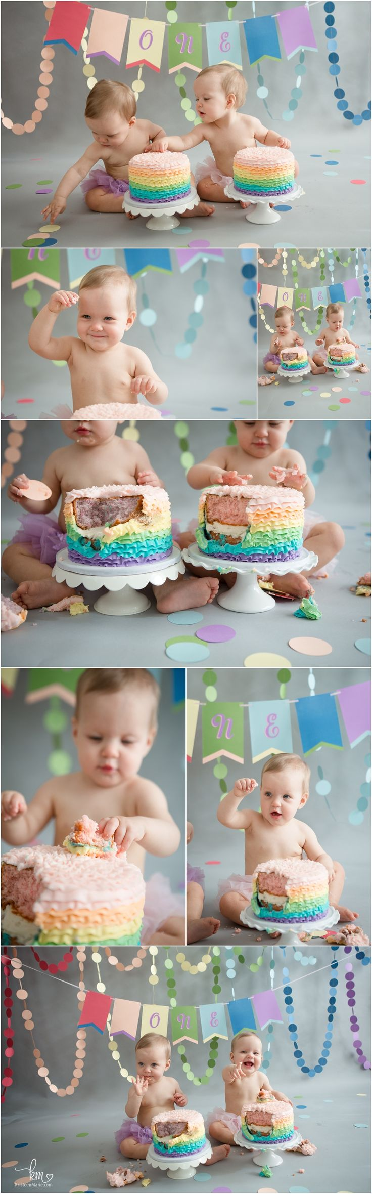 pastel rainbow themed cake smash for twin girls' first birthday party