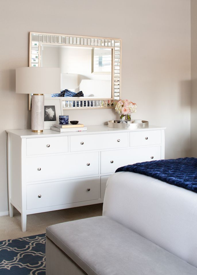 Modern Glam Blue And White Bedroom Transitional White Bedroom