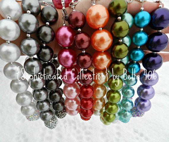 Children's Chunky Bead Necklace Bubblegum Bead by IzzyandIsla