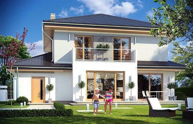 Niewielka powierzchnia domu została zamknięta w atrakcyjnej nowoczesnej bryle, z ładnymi przeszkleniami i urozmaiconymi elewacjami. Wnętrze domu podzielono na część dzienną i gospodarczą na parterze, oraz sypialnie na piętrze.
