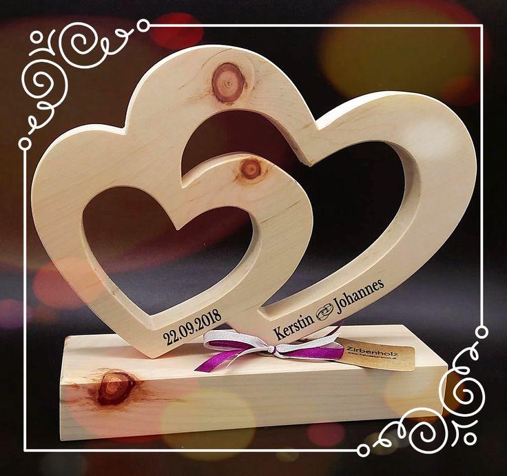 Großes, ( 28x24x10cm ) Zirben Doppel Herz, nicht nur zur Hochzeit! Ein MUSS fü…