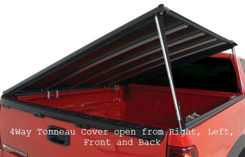 4Way Tonneau Covers open from any side making them extremely versatile when loading and transporting items that hang over the side of your truck bed. This hard tonneau cover is fully lockable.