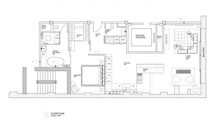 bachelor pad: Yaletown Loft Designed by Kelly Reynolds, Yaletown Loft Floor Plan by Kelly Reynolds