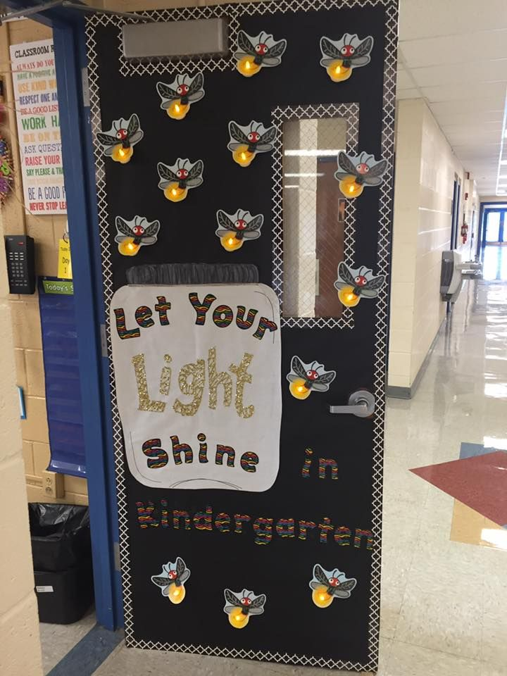 Classroom door idea for Kindergarten.  Quote: Let Your Light Shine.