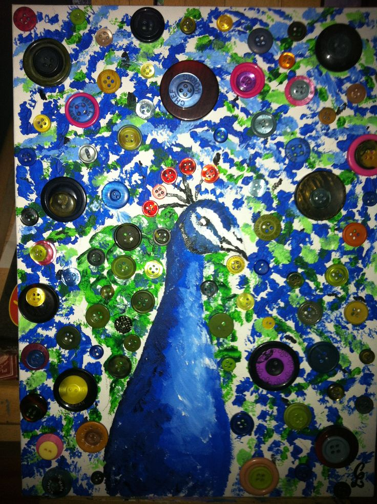 Button art for fun - Peacock by Carolyn Lopes