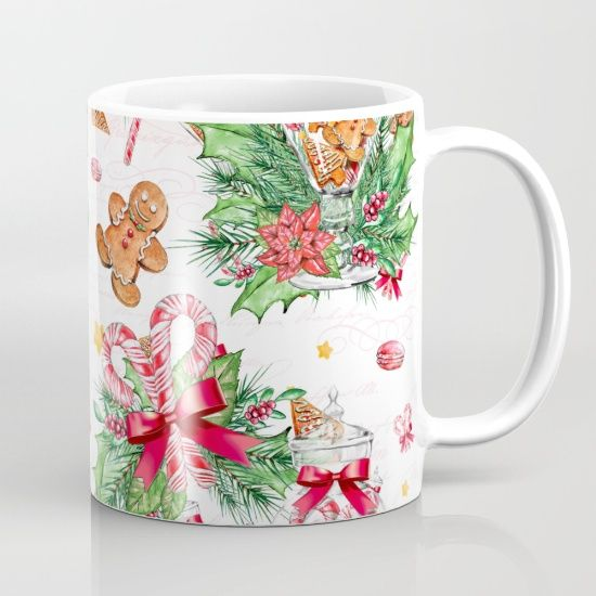 #gingerbread #candycane #mugs Available in different #giftideas products. Check more at society6.com/julianarw