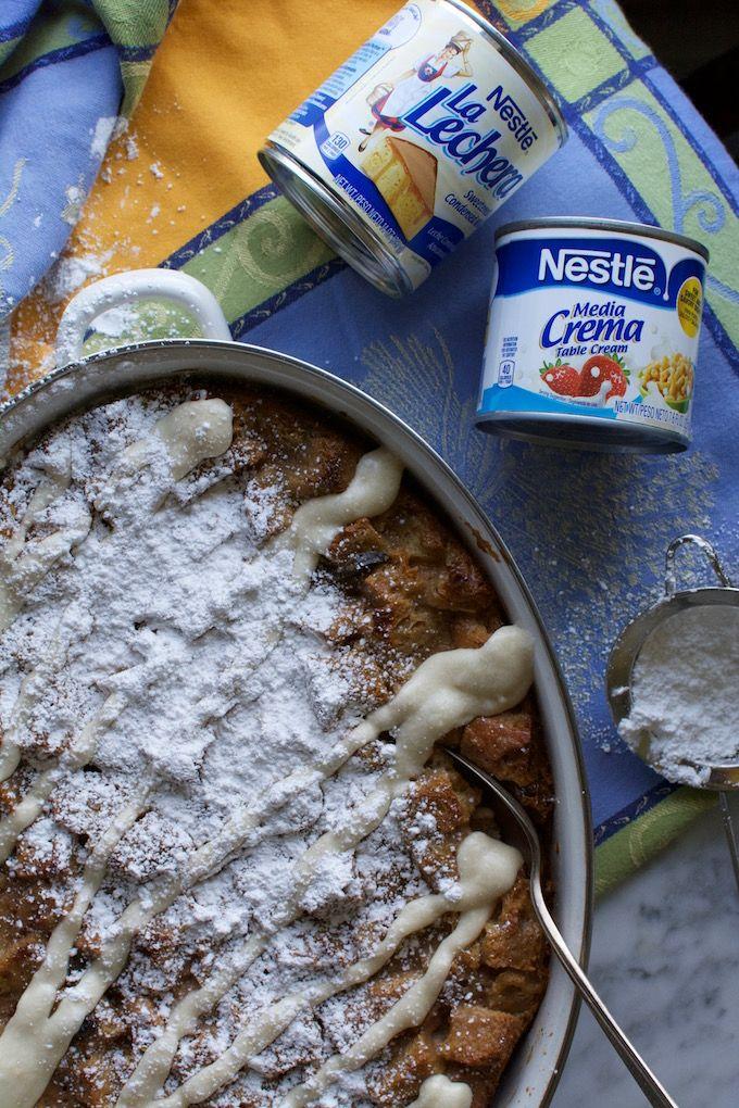 Cinnamon Roll Capirotada {Mexican Bread Pudding}