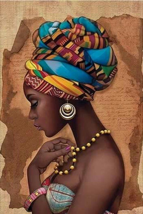 African Artwork Decor Cross Sew Sample – African Artwork Print – African Decor – Black Ladies – Embroidery – African Wall Artwork – PDF File