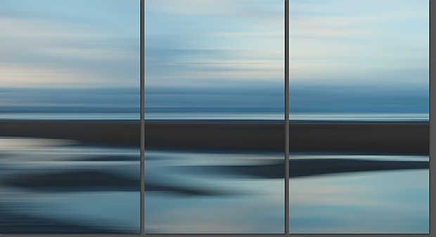 Josh Von Staudach, Crosby Beach, 2010 / 2011 © www.lumas.com/ #LumasAbstract, Beach, Beaches, blue, Coast, Coasts, England, Europe, fuzzy, Great Britain, Horizon, Landscape, meditative, Miniseries, Nature, Ocean, Oceans, Photography, Sea, Seas, smudged, Triptych, Triptychs, UK, Water