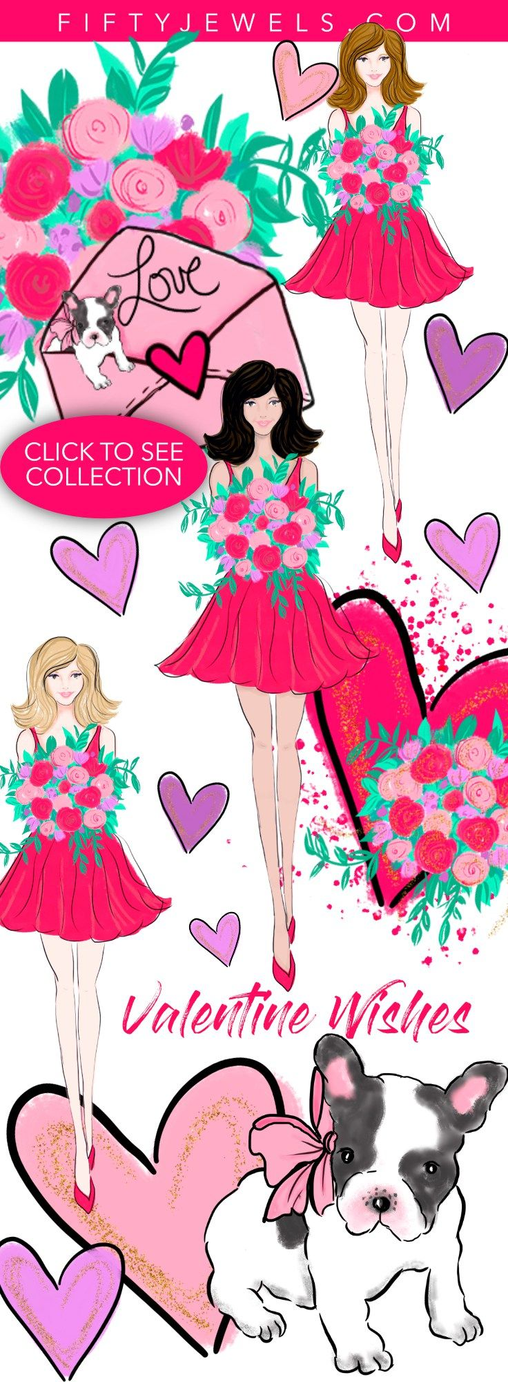 Fashion Clip Art | Watercolor Clipart | Valentine's Day | Celebrate your love of the sweetest holiday with this darling Valentine Designer Clip Art Collection! Click to see the entire kit. #fashion #clipart #valentinesday #hearts #love