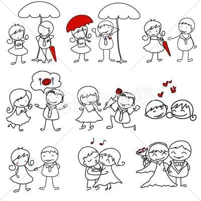 Stock Illustration of cartoon hand-drawn love character