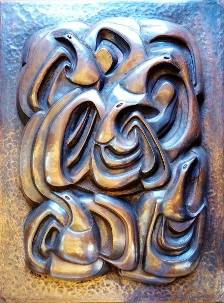 """Obra: """"Vuelo de las Aves"""". Repujado y Cincelado en cobre"""