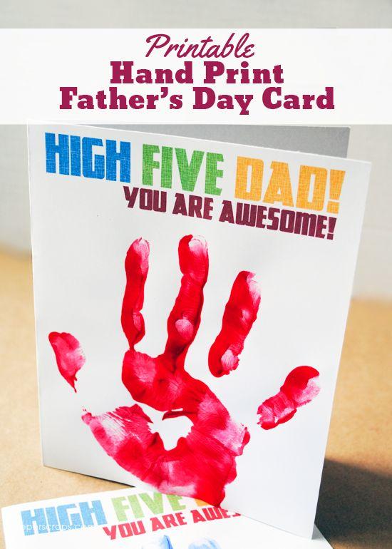 Printable Hand Print Father's Day Card...