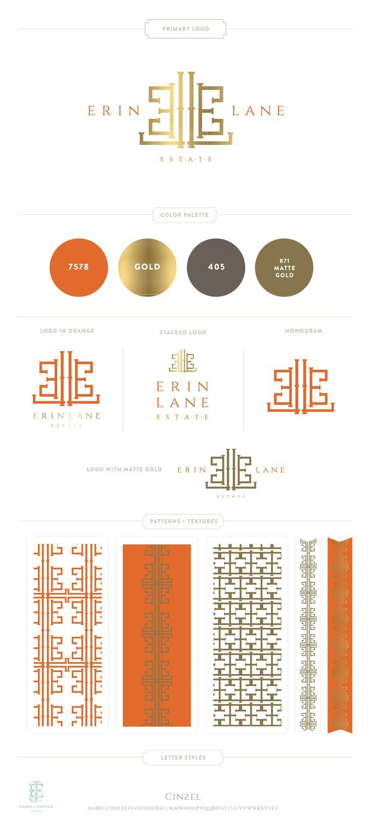 Branding Design for Erin Lane Estate    Luxury Branding, Logo, Gold Bamboo Monogram     Retail Brand Design www.emilymccarthy.com