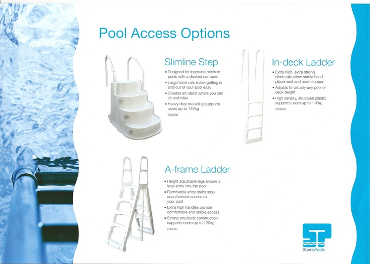 sterns have a good range of ladder steps for your above ground pool the