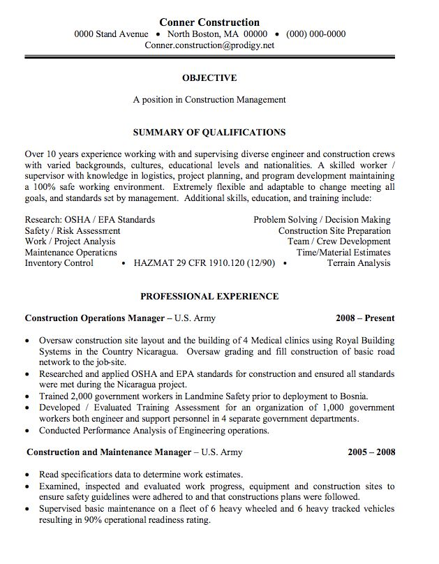 Более 25 лучших идей на тему «Construction manager» на Pinterest - sample of construction resume
