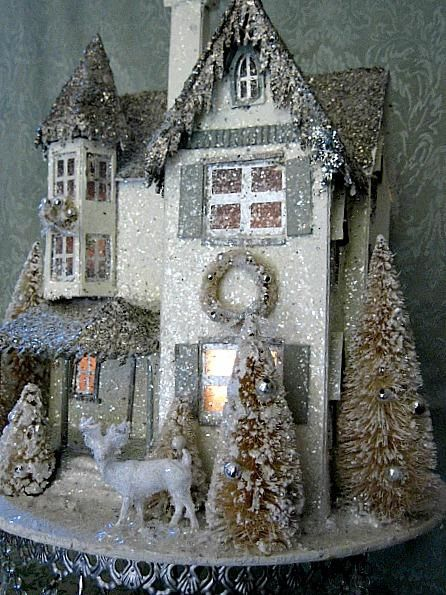 Christmas Putz Victorian Manor House Bottle Brush Trees Reindeer Lights