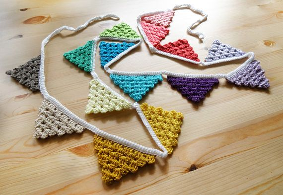 Crochet Pattern  Garland  Flags  Bunting  Pennants  PDF