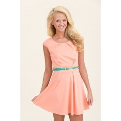 Demure and Simple Dress-Coral - $36.00