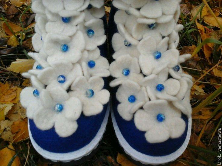 """Купить Валенки""""Цветочная пена"""" - темно-синий, валенки, валенки для улицы, валенки ручной валки"""