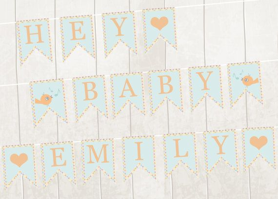 Printable Banner Bunting Pdf New Baby Baby Shower by VeryFairyGood