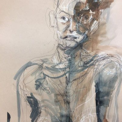 Andjana Pachkova, Julia Unveiled, 2017, Ink, copic and poska pens on paper, 45 x 60 cm - $650 (Framed)  www,stanleystreetgallery.com.au