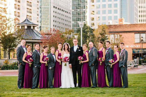 November Wedding in Charlotte, NC - Romare Bearden Park Uptown Charlotte. Bill Levkoff Sangria bridesmaid dresses, Stella York Wedding Gown
