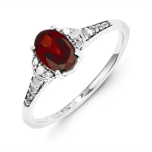 - .925 Sterling Silver Width of Item:2 mm Band - Rhodium-Plated - Open Back Stone Type: Diamond Stone Creation Method:Natural Stone Weight:0.100 ctw (total weight) Stone Type: Garnet Stone Creation Me