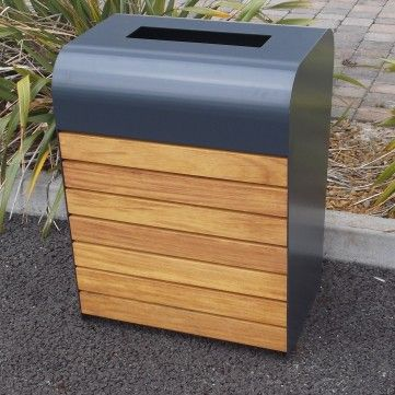 Manufactured from mild steel then hot dipped galvanised as standard.  The front and rear are clad in 70m x 34mm iroko timber slats.     The Alton litter bin has a capacity of 95 litres complete with galvanised steel liner.
