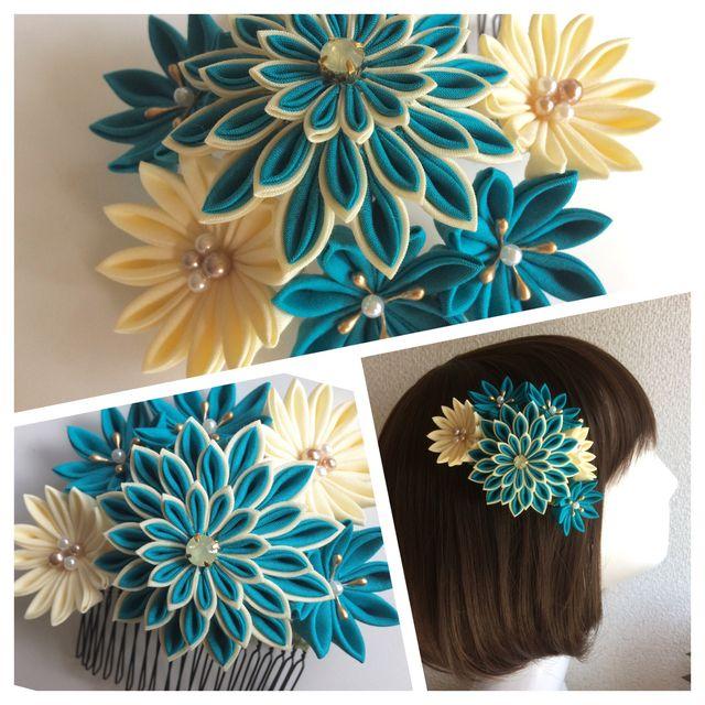 ハンドメイドマーケット Minne ミンネ つまみ細工髪飾り ターコイズブルーのダリア つまみ細工 成人式 髪飾り 手作り 細工