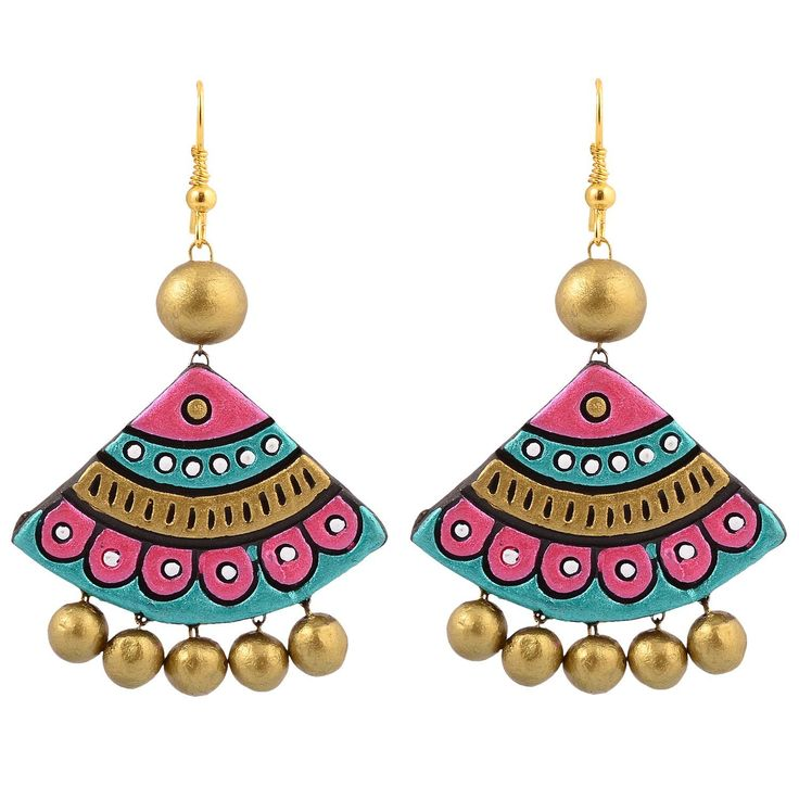 Buy Avarna Terracotta Large Earring ERD0005 Multi-Colour Online at Low Prices in India | Amazon Jewellery Store - Amazon.in