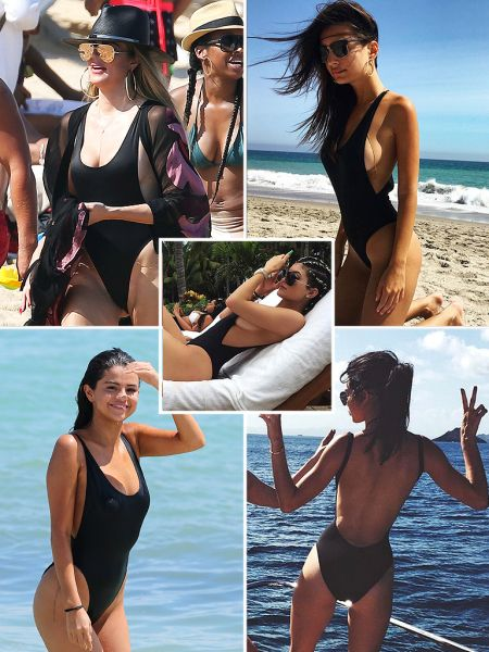 The Best Black One Piece Swimsuit, as Chosen by Celebrities - Why Selena Gomez, Khloe Kardashian, Kylie Jenner, Emily Ratajkowski and Kendall Jenner all love this simple American Apparel one-piece