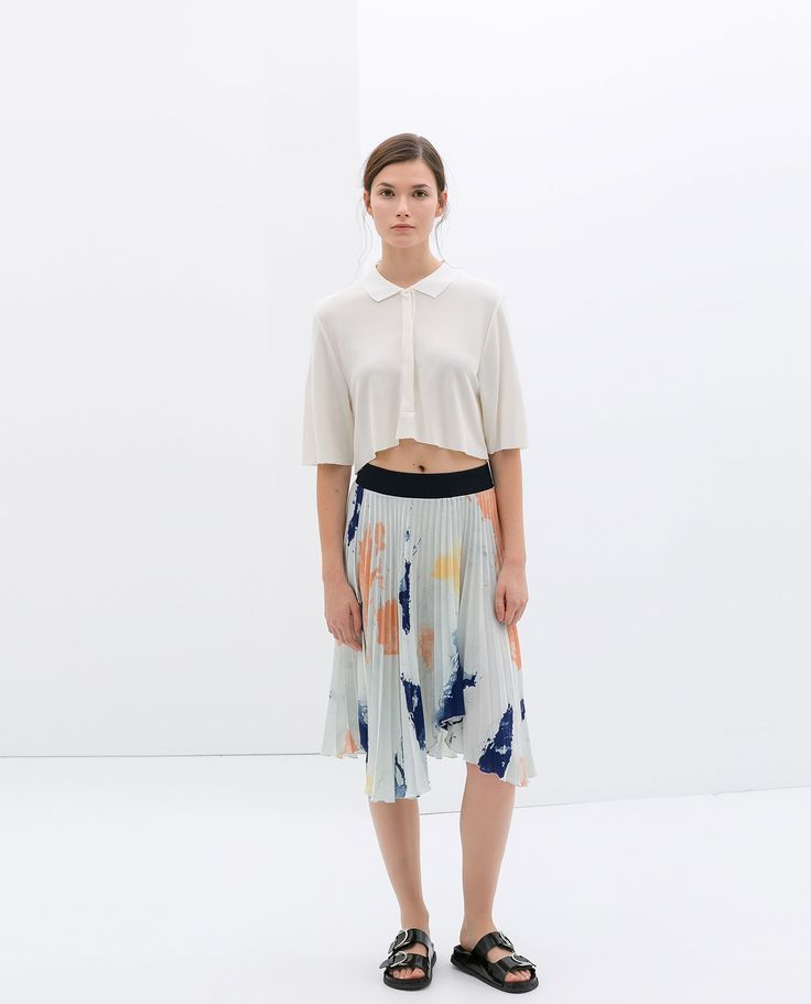zara pleated print skirt
