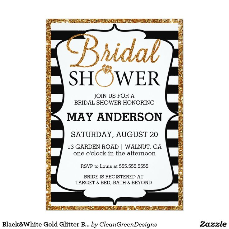 Black&White Gold Glitter Bridal Shower Invitation