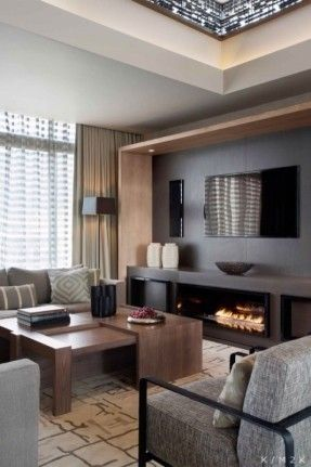 Apartment, Square Standing Lamp, Minimalist Wooden Sofa Table, Grey Sofas, White Carpet, Modern Fireplace, Black Plasma TV, Wide Brown Curtain,: The Maximum Pleasure Inside Your Home