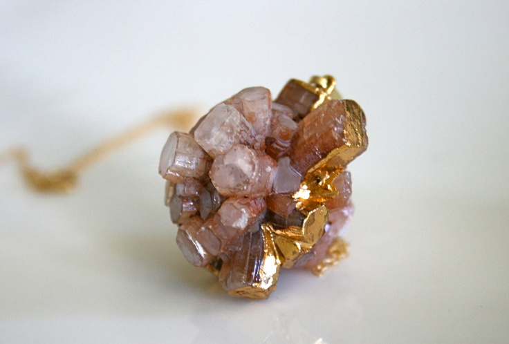 Peach Aragonite Cluster Gold Necklace. via Etsy.