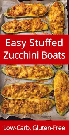 Stuffed Zucchini Boats with ground meat and cheese - low-carb and gluten-free! (from MelanieCooks.com)