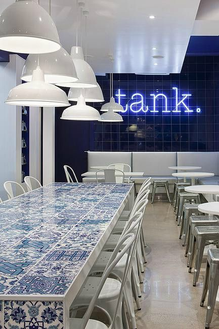Tank Fish & Chippery | Carlton, Melbourne takes on the traditional Lygon Street eatery with a cheeky nod to the tradition of real Greek fish and chips. #Aqua #Retail