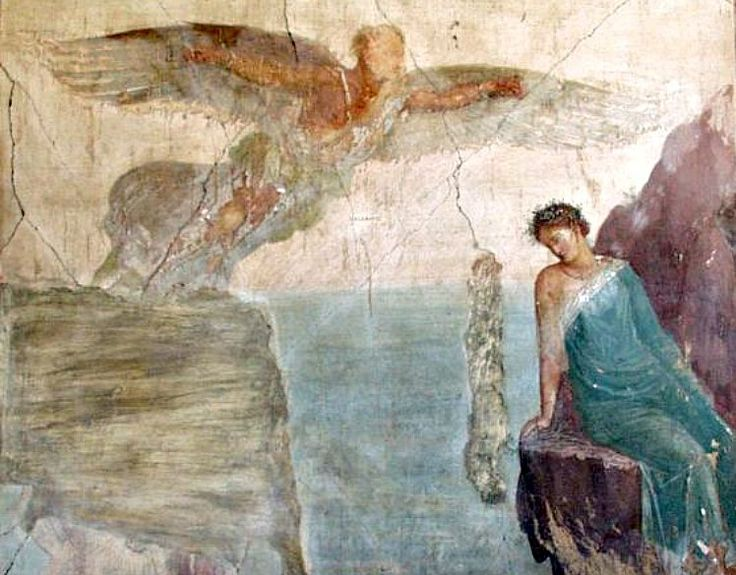 Pompeii. Villa Imperiale. Detail from 'Death of Icarus' - AD 79 eruption