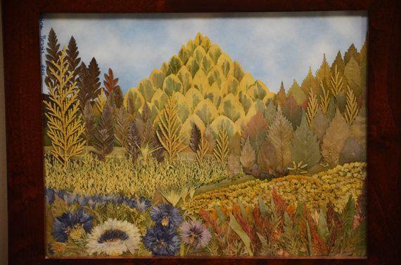 Original Pressed Flower Art  Mountains / by irinasartbynature, $120.00