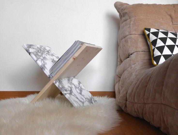 DIY porte-revues magazine en bois clematc porte-revue personnalisable bois or marbre à motif... clemaroundthecorner.com
