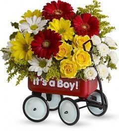 FDH Baby's Wow Wagon :- Hitch your wagon to a star! This little red wagon is a #Flower arrangement and #Nursery_Decoration all in one.