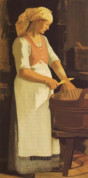 Kneading the Dough    Taikinanalustaja 1908    Juho Rissanen