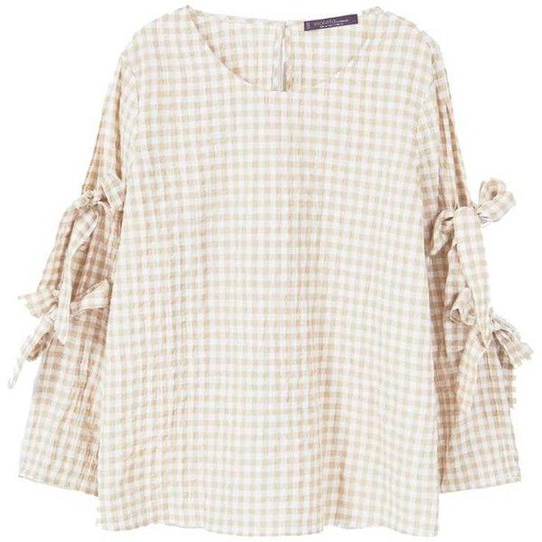 Gingham Check Blouse ($63) ❤ liked on Polyvore featuring tops, blouses, white bow top, long sleeve bow blouse, sleeve blouse, checkered blouse and gingham top