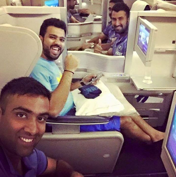 #TeamIndia #WIvsIND    Cheteshwar Pujara   Rohit Sharma and Ashwin Ravi clicks a selfie before leaving to West Indies. - http://ift.tt/1ZZ3e4d