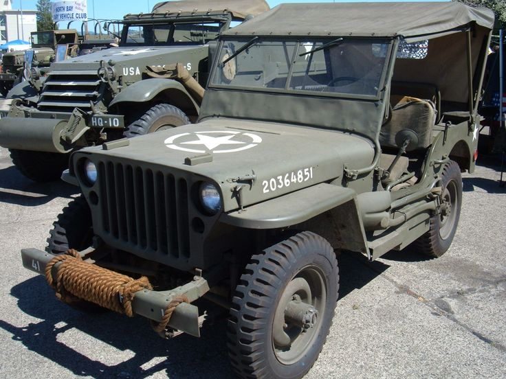 A Jeep Willys MB was used in WW2 as a light utility vehicle and a scout car, since they were light, fast, and a 4X4
