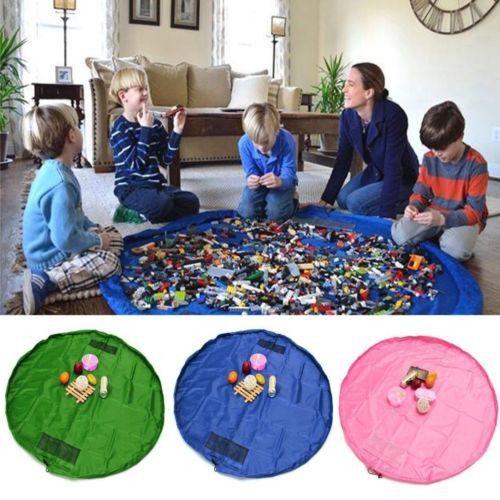 Portable Kids Children Infant Baby Play Mat Large Storage Bags Toys Organizer...