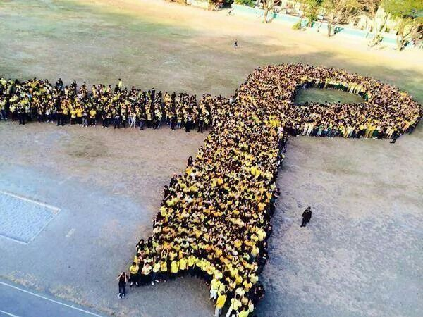 """Philippines to South Korea; many gathered together to create the iconic """"yellow ribbon"""" that has been used to represent hope and love for the victims of the Sewol Ferry tragedy."""